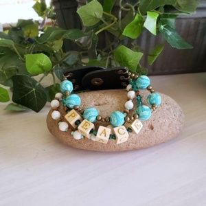 Peace Beaded Layered Bracelet